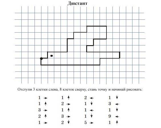 05.Графический диктант по клеточкам для 1 класса