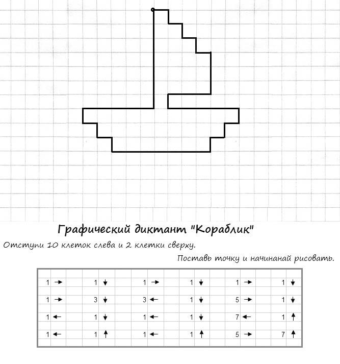 11.Графический диктант по клеточкам для дошкольников